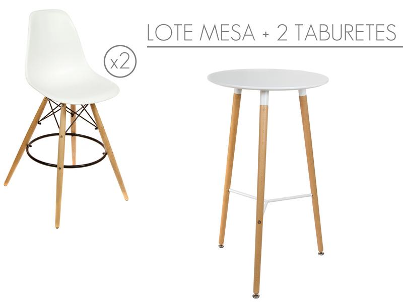 Mesa y taburetes altos eames mesas y sillas altas online - Mesa cocina con taburetes ...