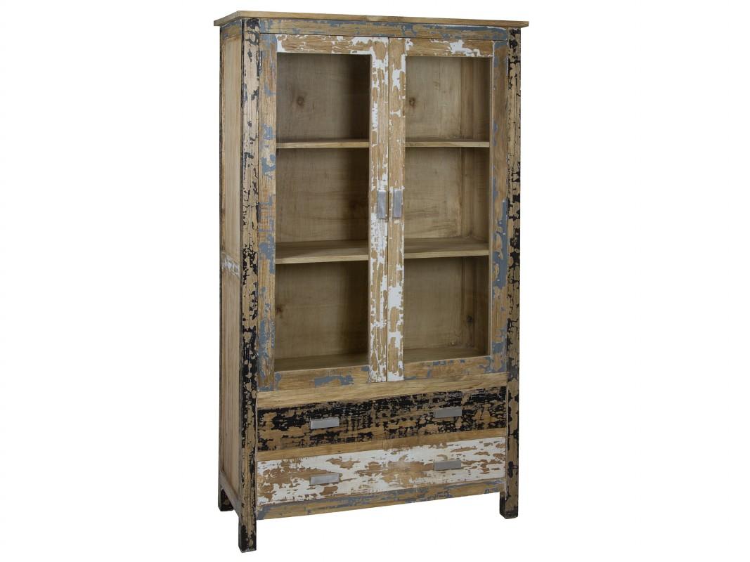 alacena industrial vintage de madera decapada 2 puertas 2