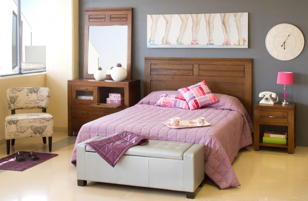 Cabecero de madera para cama de matrimonio estilo colonial - Camas estilo colonial ...
