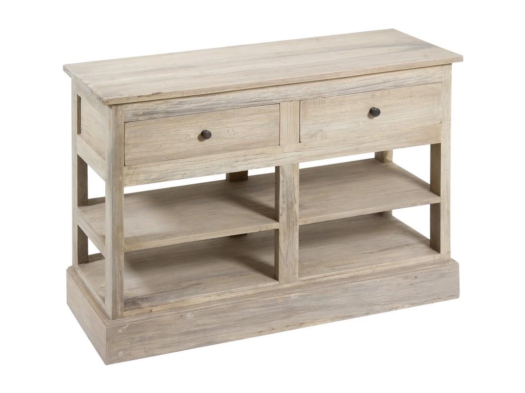 Mini aparador r stico de madera con estantes y dos cajones - Estante con cajon ...