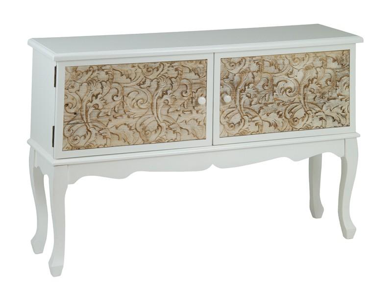 Aparador isabelino moderno blanco y marr n dm y madera pino for Eden del mueble