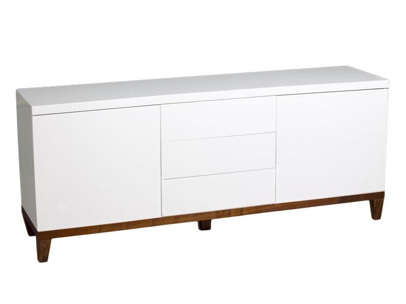 Aparador blanco sin tiradores con base de madera laminada for Tiradores de muebles de salon