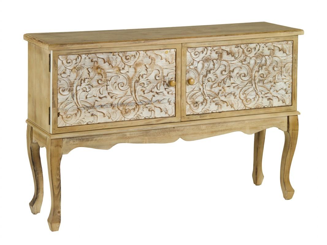 Aparador isabelino peque o madera natural estilo vintage - Muebles de entrada vintage ...