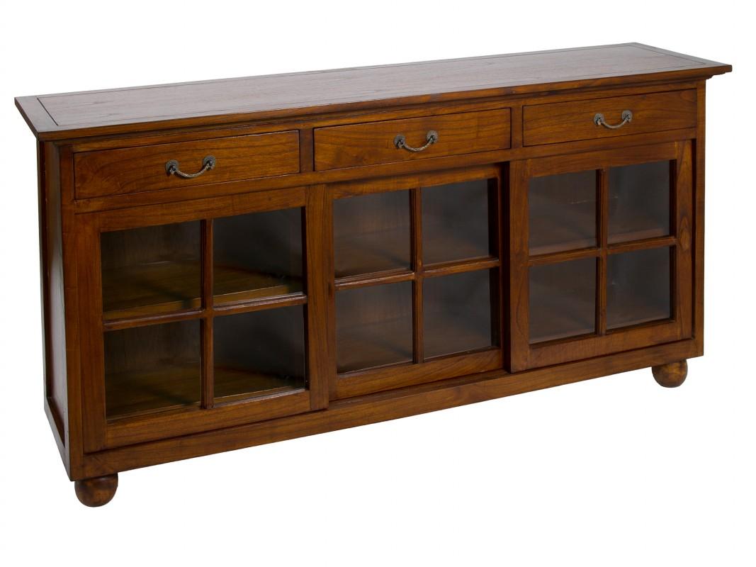 Aparador colonial antiguo de madera y cristal para comedor - Aparadores de salon ...