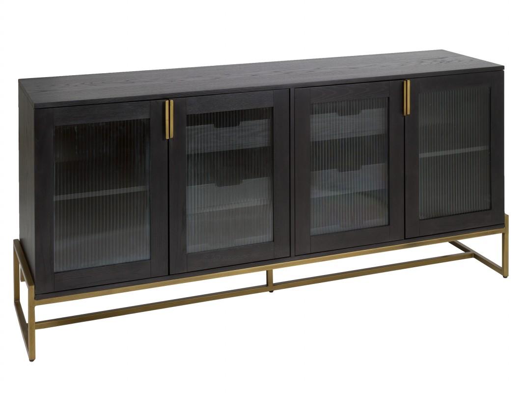 Aparador contempor neo gris plomo y dorado con puertas de cristal ondulado - Cuberterias de plata precios ...