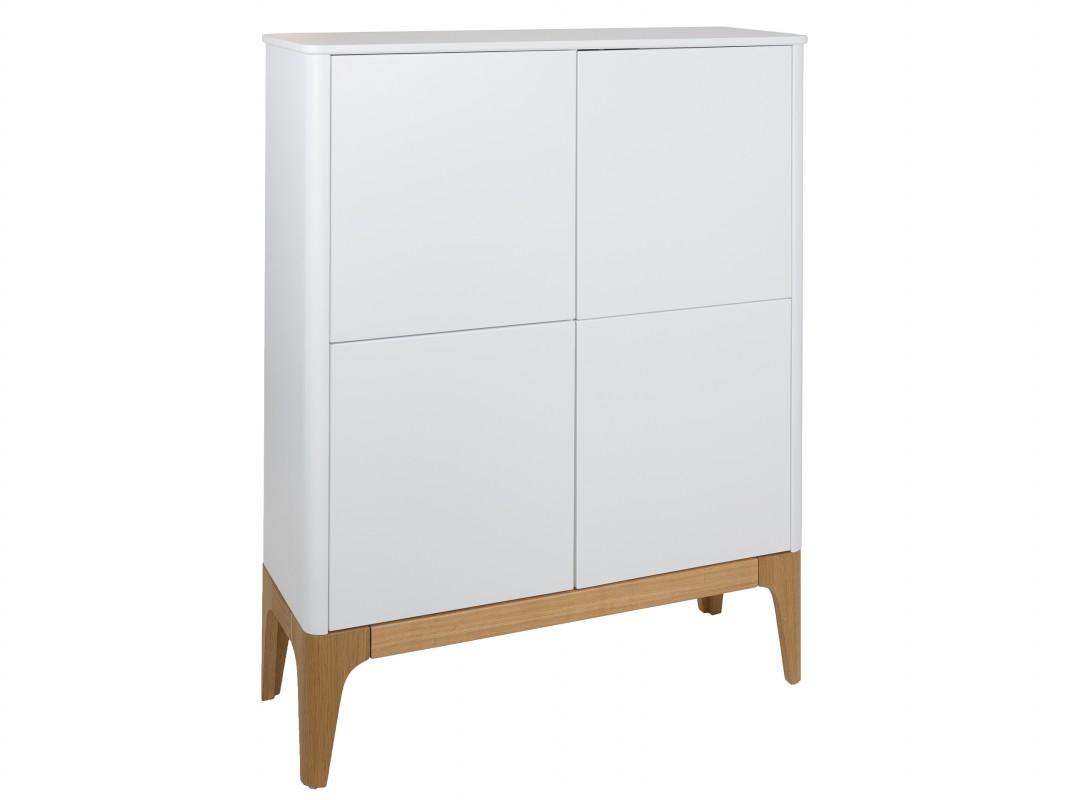 Aparador Comedor Antiguo ~ Aparador alto nórdico blanco y madera con cuatro armarios