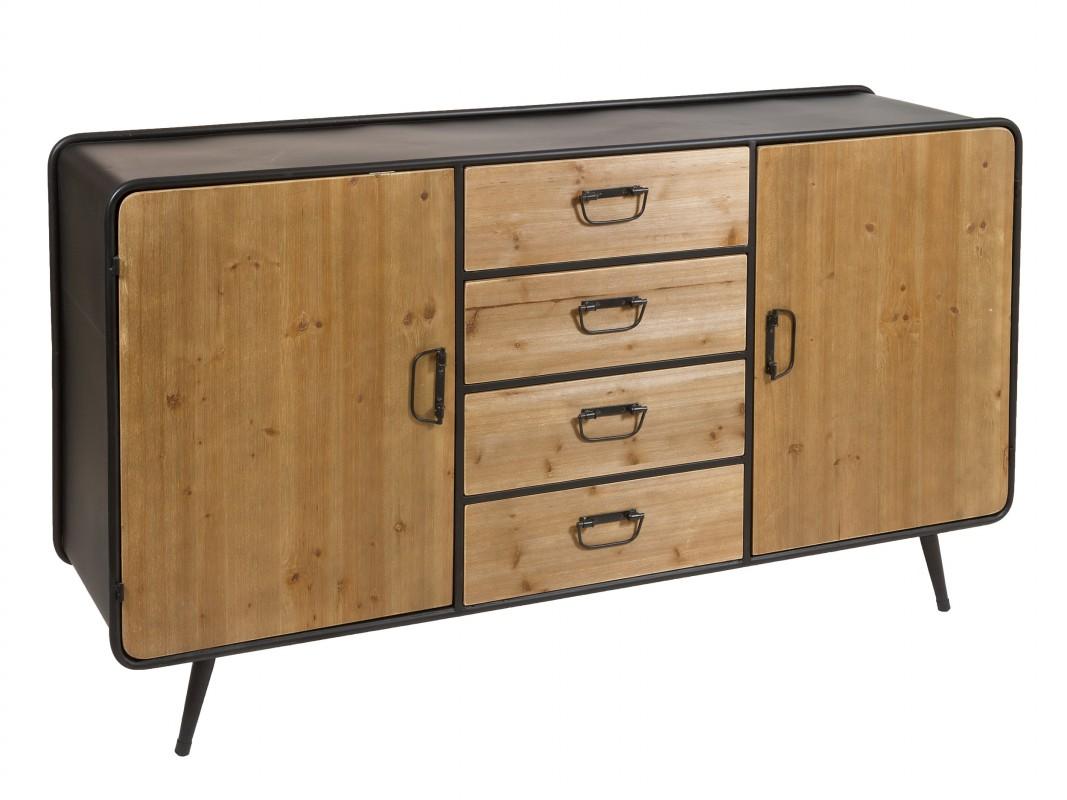 Aparador industrial hierro y madera de abeto con puertas y cajones - Muebles de hierro y madera ...