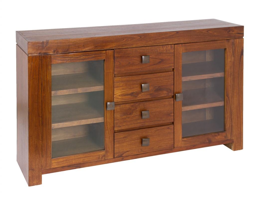 Aparador madera mindi y cristal mueble aparador madera natural - Aparador de comedor ...