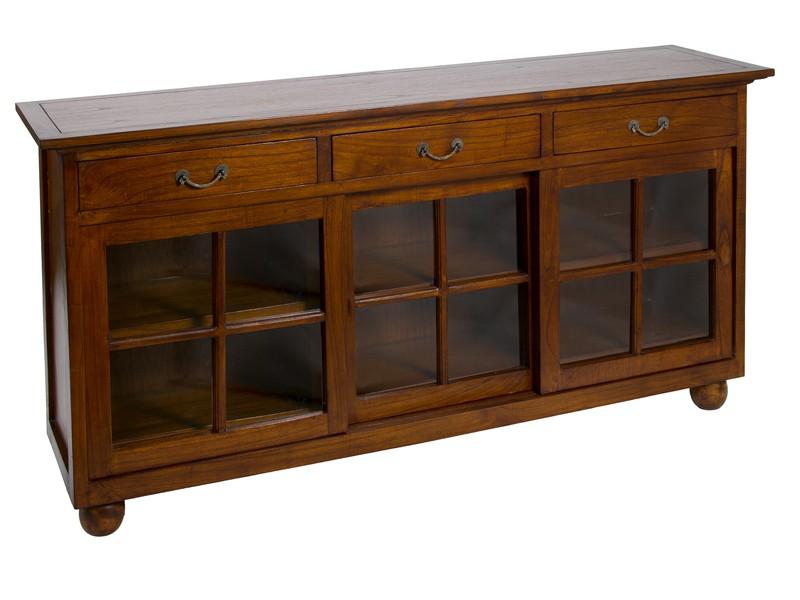 Aparador colonial antiguo de madera y cristal para comedor - Modernizar muebles clasicos ...