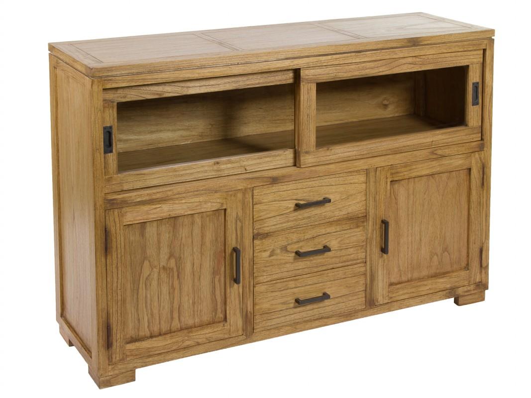 Armario Jardin Carrefour ~ Aparador madera natural envejecida 4 puertas y 3 cajones