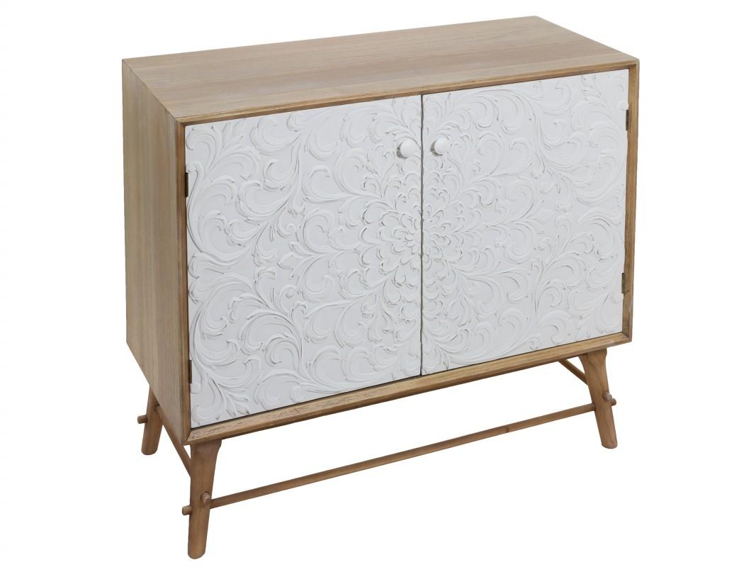 Armario peque o de pino color roble y blanco para sala de - Armario blanco pequeno ...
