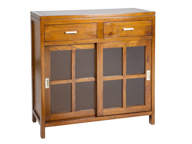 Aparador peque o de madera estilo r stico muebles sal n for Muebles de salon pequenos