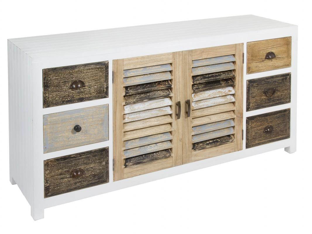 Aparador vintage blanco de madera con acabado envejecido - Mueble blanco decapado ...