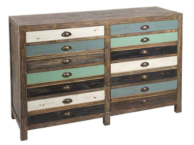 Aparador industrial grande madera de colores con 8 cajones - Aparador industrial ...
