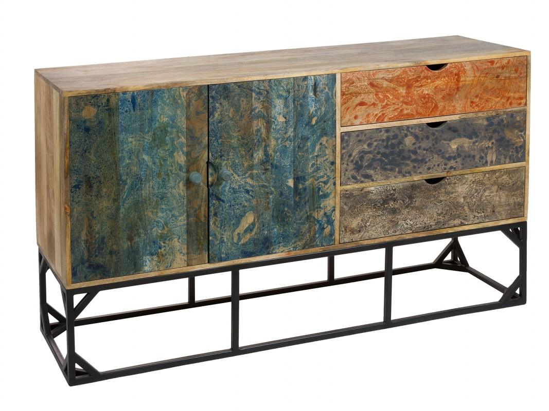 Aparador vintage de colores madera de mango y patas de for Colores vintage para muebles