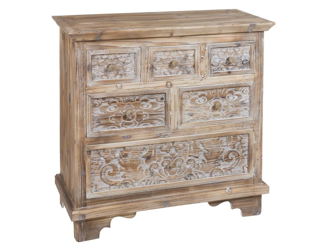 C moda peque a vintage de madera decapada de abeto y mdf - Comoda para recibidor ...