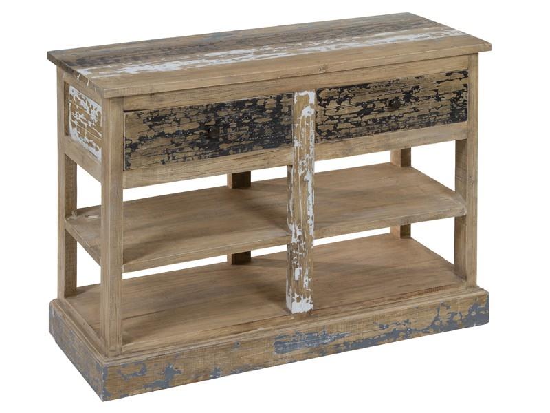 Mueble auxiliar envejecido con baldas y dos cajones for Mueble auxiliar pequeno