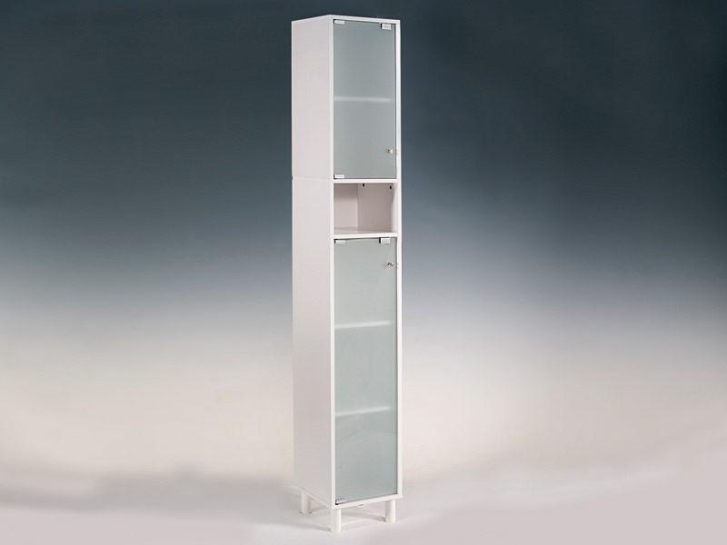 Amario de ba o alto y blanco con 2 puertas en dm y cristal for Armarios altos para bano