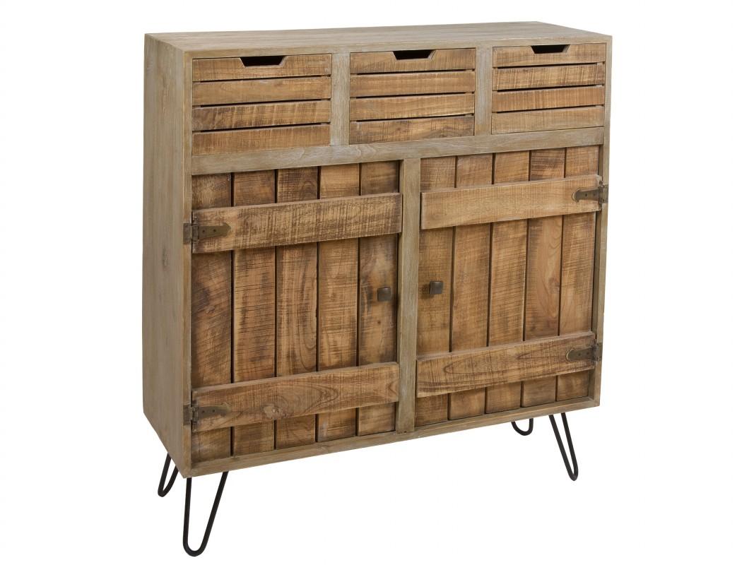 Aparador peque o estilo r stico de madera envejecida for Bar de madera pequeno
