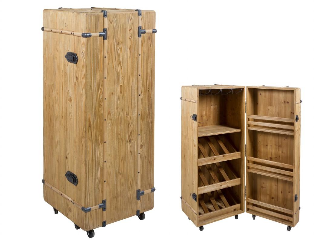 Armario botellero madera abeto con ruedas estilo - Botellero de madera para vino ...