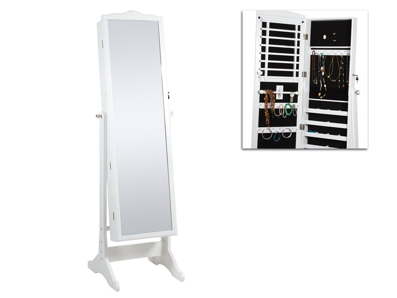 Armario joyero blanco con espejo vestidor de madera for Armario con espejo
