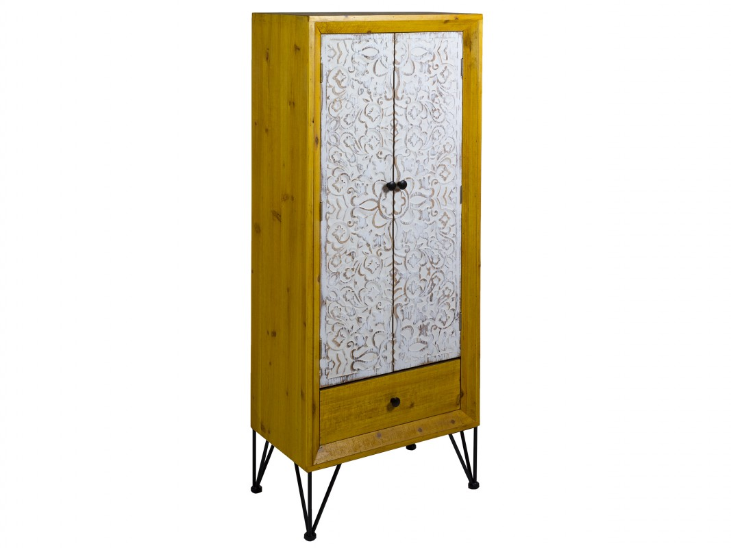 Armario vitrina shabby chic industrial de hierro y madera for Armarios estilo industrial