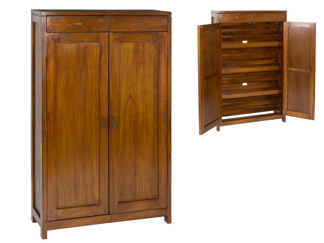 Armario zapatero de madera maciza estilo colonial for Estilos de muebles de madera
