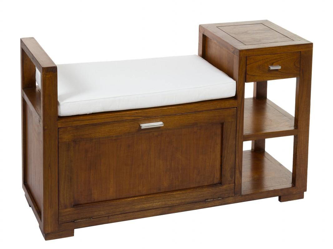 Banco ba l de madera con caj n y estantes pies de cama - Banco baul madera ...