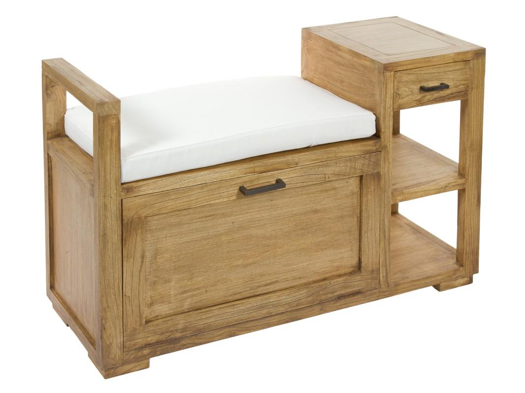 Banco baul de madera estilo r stico para pie de cama - Banco de madera rustico ...