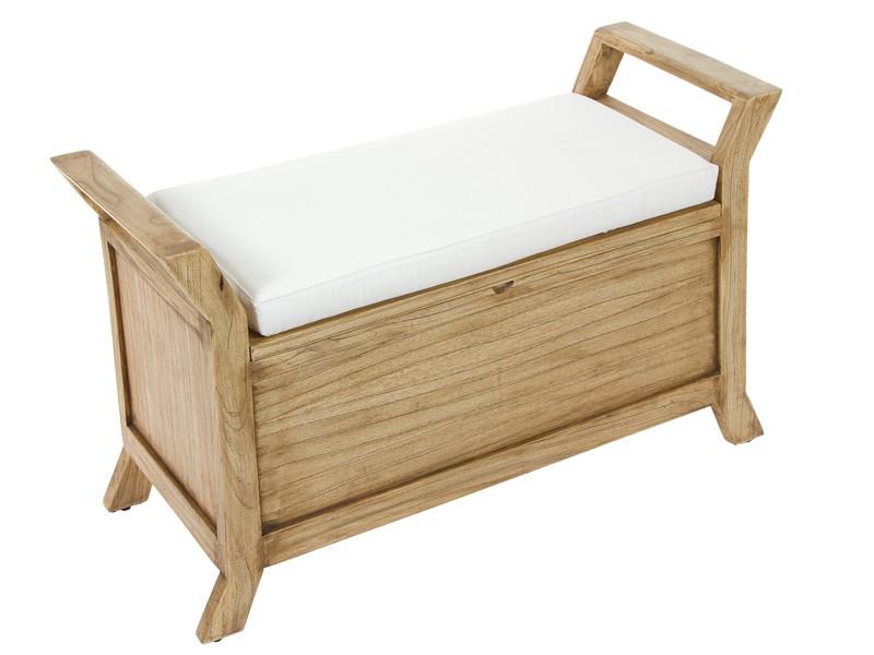 Banqueta baúl de madera con cojín blanco - Banquetas online