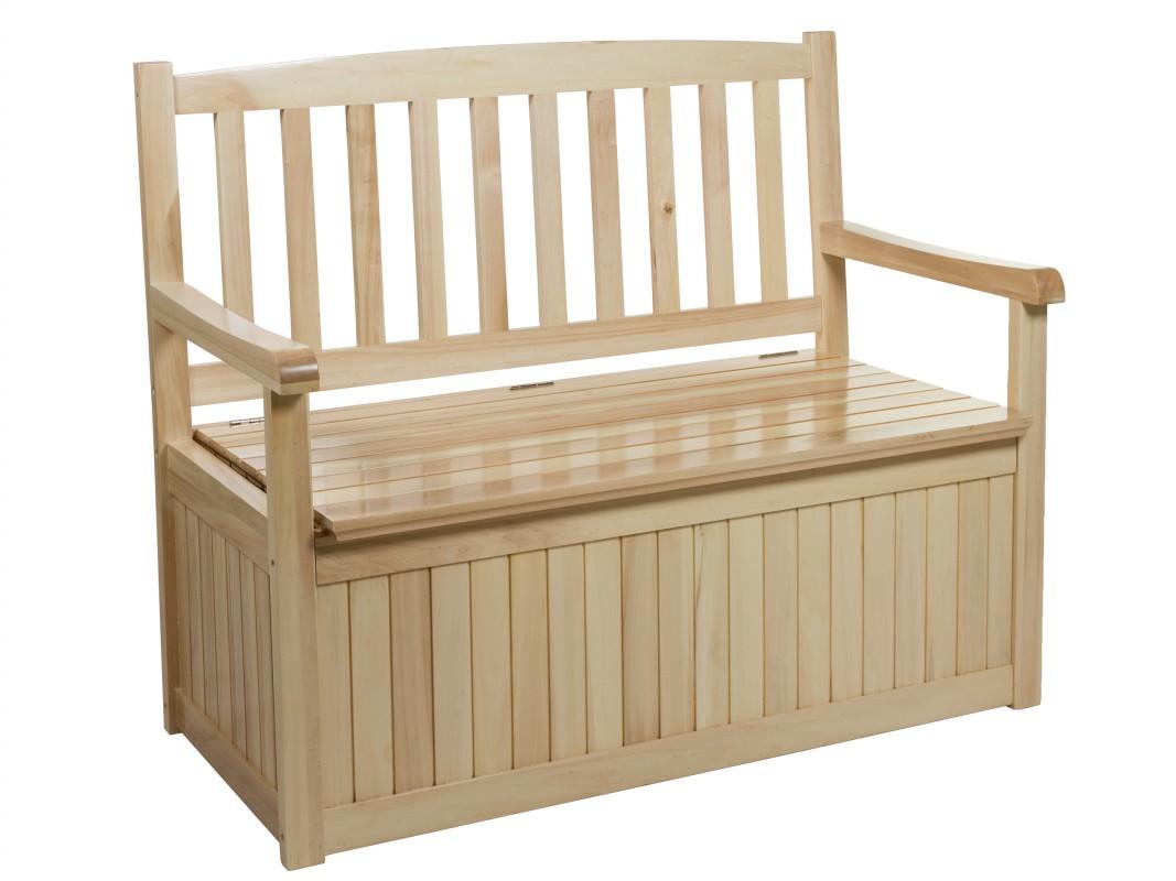 Banco jard n con almacenaje madera de lamo banco for Casa para almacenaje jardin