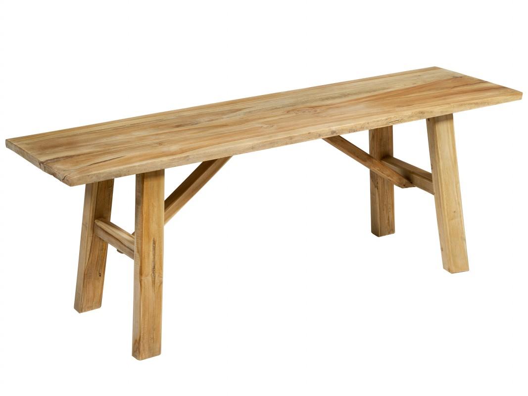 Banqueta r stica de madera de teca para recibidor o terraza for Banquetas de madera