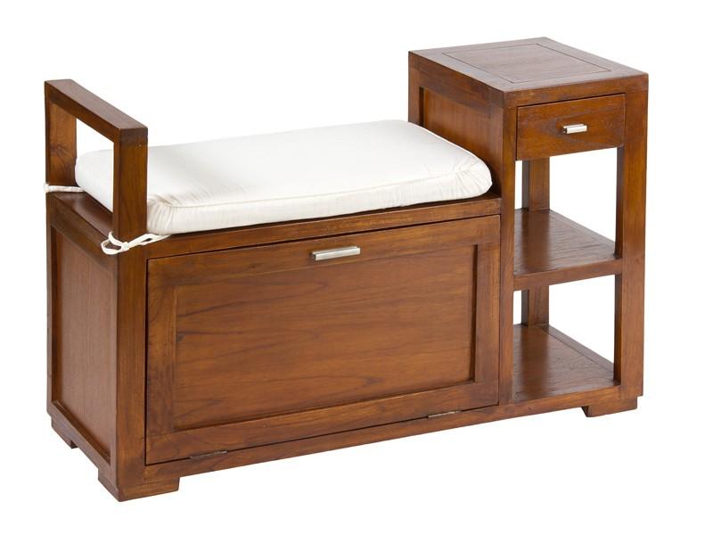 Banco ba l de madera con caj n y estantes pies de cama for Mueble zapatero colombia