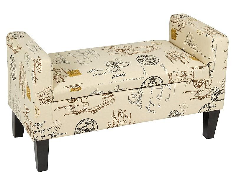 Banco pie de cama color crema con apoyabrazos estilo vintage
