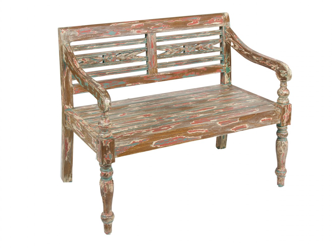 Banco decoracin antiguo de madera para terraza o jardn