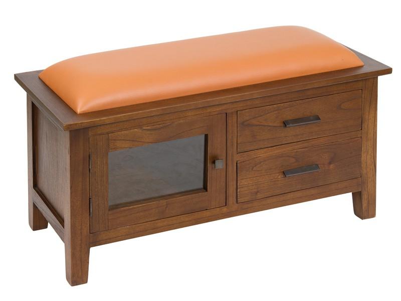 Mueble para pie de cama acolchado con puerta y dos cajones for Mueble cama con cajones