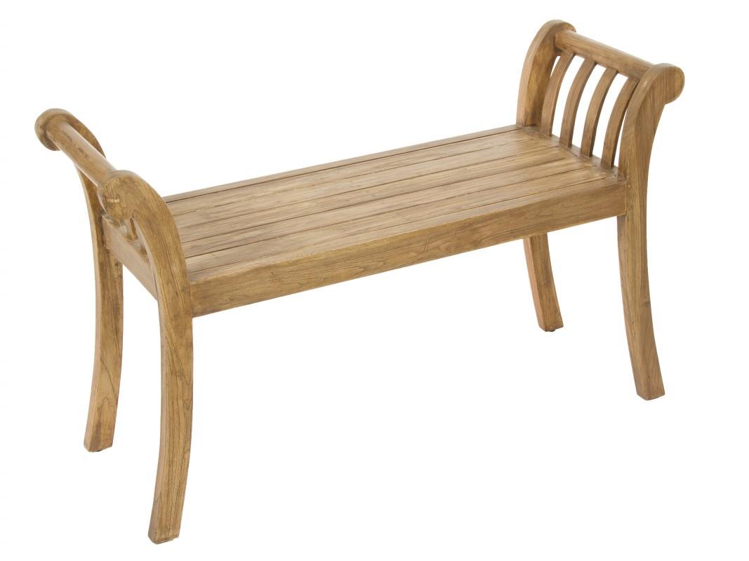 Banqueta de madera de acacia natural con brazos for Banquetas de madera