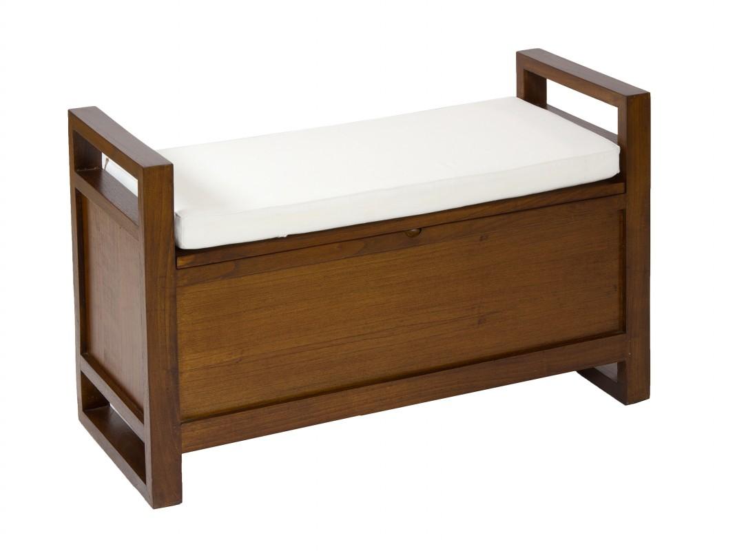 Banco baulero de madera con coj n bancos decorativos for Mueble tipo divan