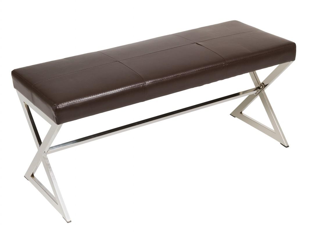 Banqueta moderna de polipiel con patas de hierro cromado - Banquetas para dormitorio ...