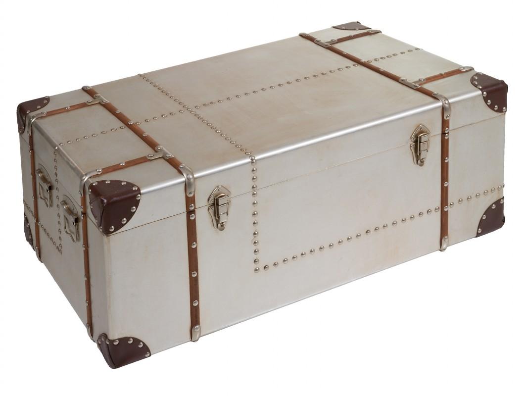 Baul mesa de centro baul maleta antigua plateado estilo - Baules para guardar ropa ...