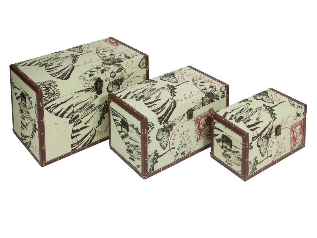 Juego 3 ba les decorativos vintage comprar ba les online - Baules decorativos ...