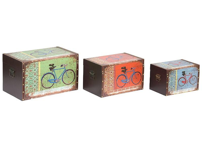 Juego de 3 ba les de colores en madera estilo vintage - Baules decorativos ...
