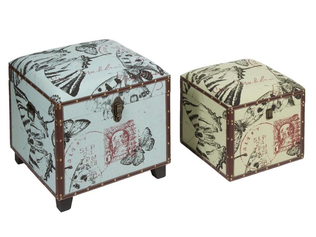 Ba les puff decorados de madera tapizada estilo vintage - Baules decorativos ...