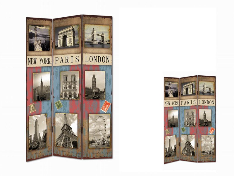 Biombo vintage ciudades del mundo - Separadores de ambientes