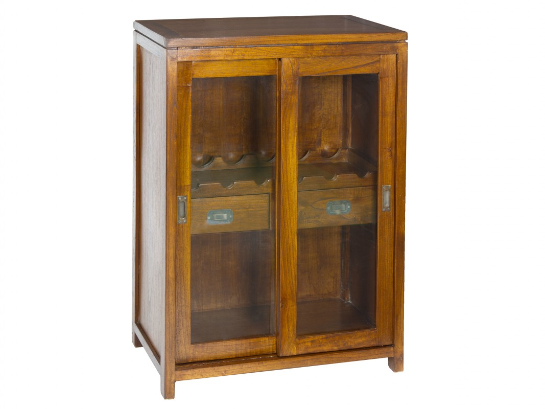 Botellero vino peque o madera y cristal muebles botelleros - Botelleros de madera para vino ...