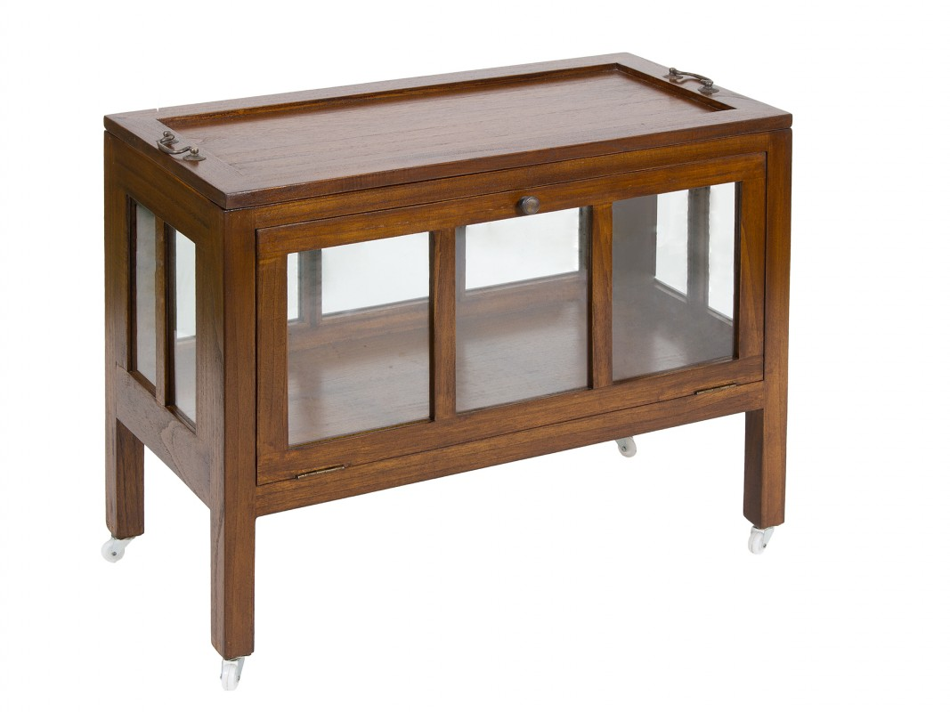 Mueble buffet con ruedas de madera de acacia estilo colonial for Buffet mueble