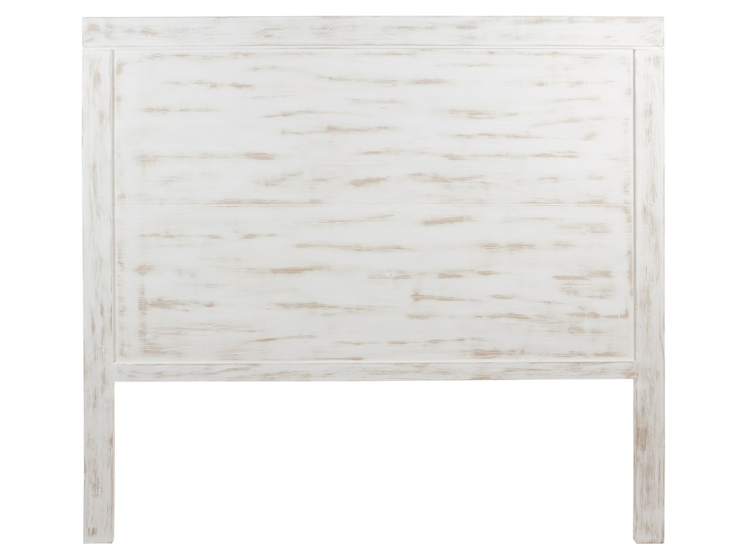 Cabecero blanco decapado 160 cm cabezal vintage blanco cama grande - Cabeceros de madera blanco ...
