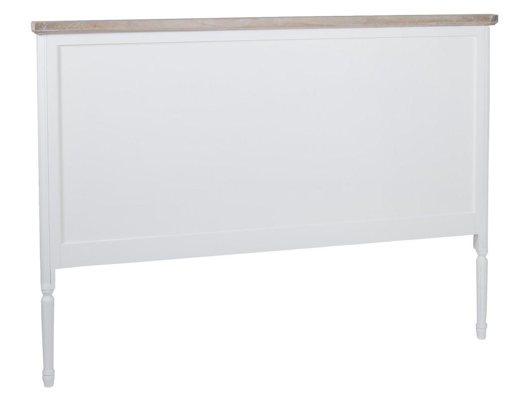 Cabecero blanco y madera para cama grande estilo vintage - Cabeceros de madera blanco ...