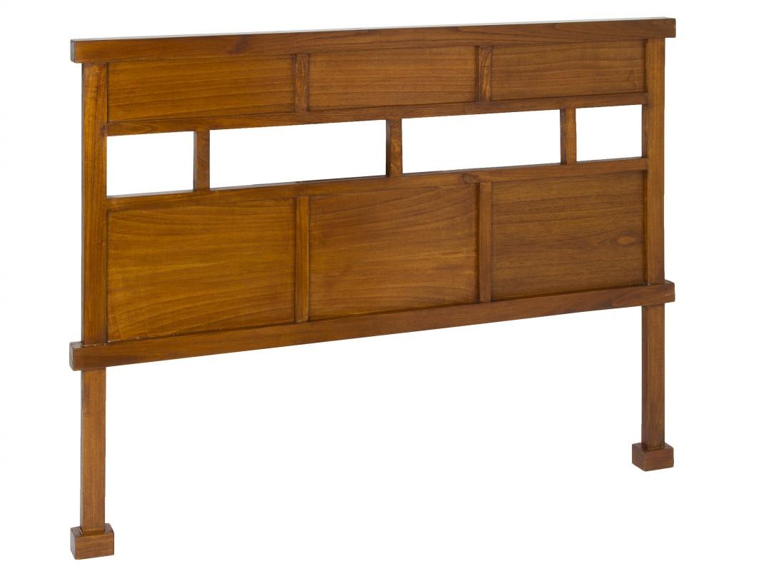 Cabezal cama individual de madera de mindi color nogal - Cabezal de madera ...