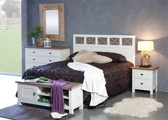 Cabezal de cama grande madera de teca color blanco roto for Dormitorios rusticos en blanco